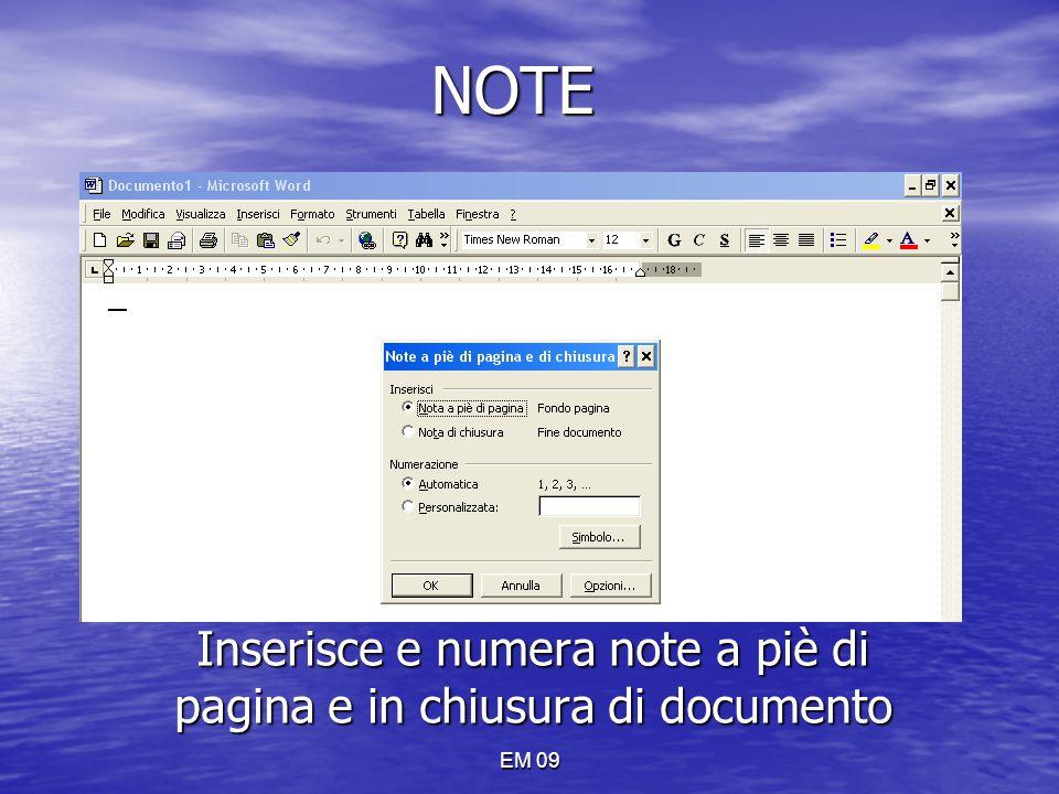 Inserisce e numera note a piè di pagina e in chiusura di documento