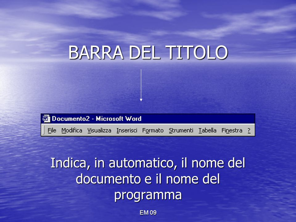Indica, in automatico, il nome del documento e il nome del programma