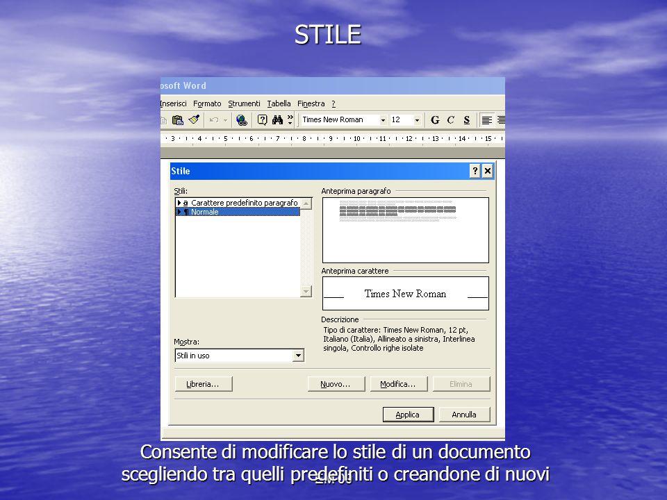 STILE Consente di modificare lo stile di un documento scegliendo tra quelli predefiniti o creandone di nuovi.