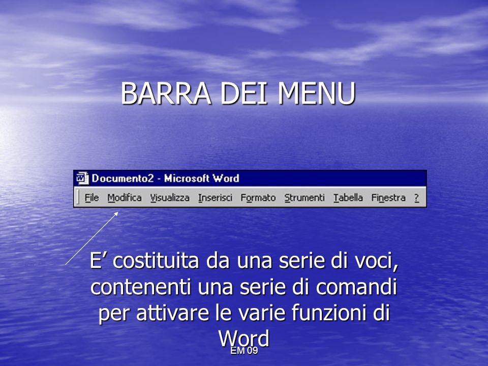 BARRA DEI MENU E' costituita da una serie di voci, contenenti una serie di comandi per attivare le varie funzioni di Word.