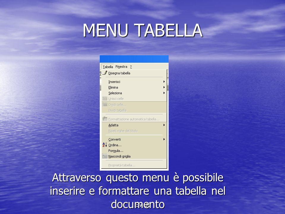 MENU TABELLA Attraverso questo menu è possibile inserire e formattare una tabella nel documento.