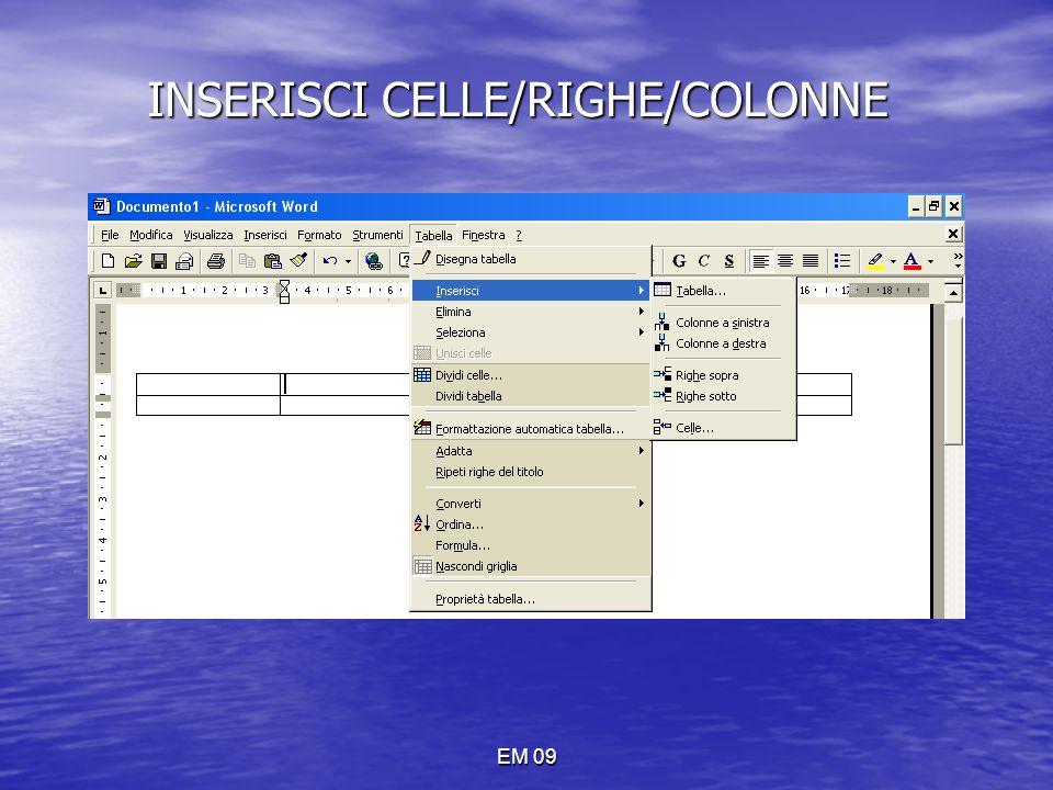 INSERISCI CELLE/RIGHE/COLONNE