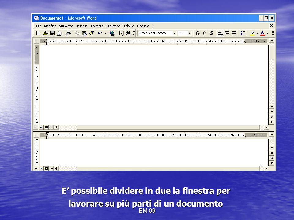 MENU FINESTRA E' possibile dividere in due la finestra per lavorare su più parti di un documento.