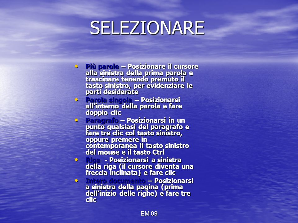 SELEZIONARE