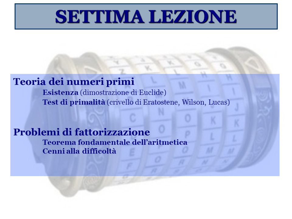 SETTIMA LEZIONE