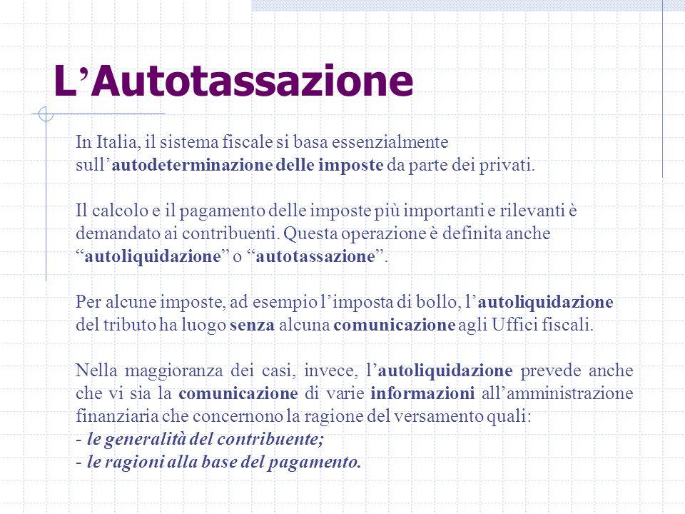 L'Autotassazione In Italia, il sistema fiscale si basa essenzialmente sull'autodeterminazione delle imposte da parte dei privati.