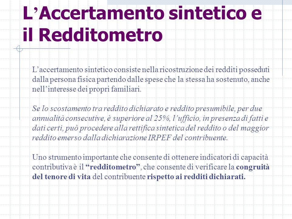 L'Accertamento sintetico e il Redditometro