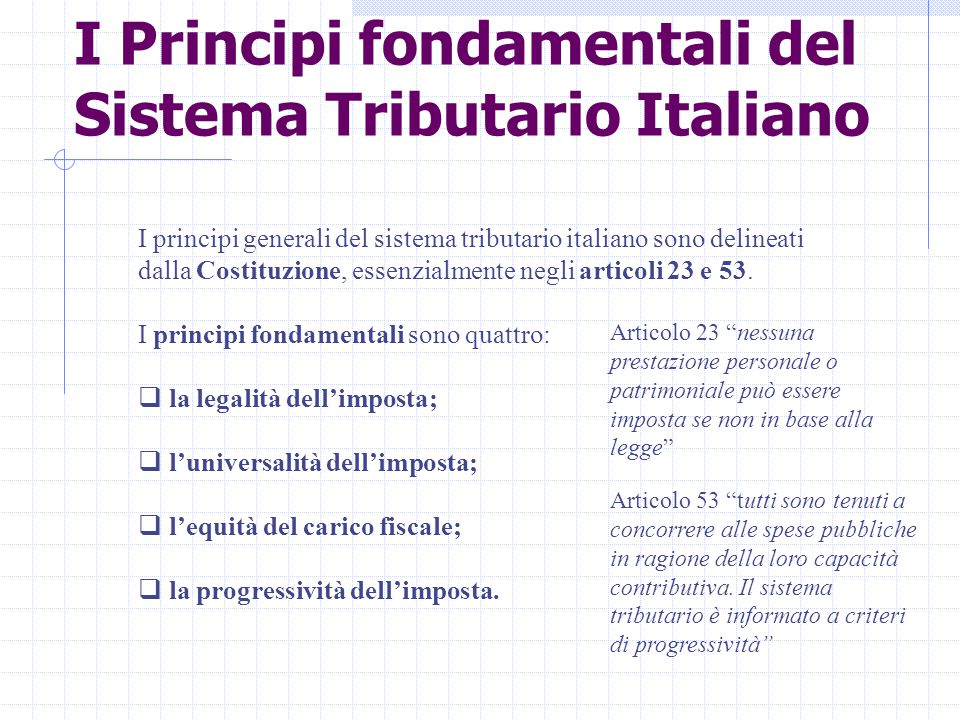 I Principi fondamentali del Sistema Tributario Italiano