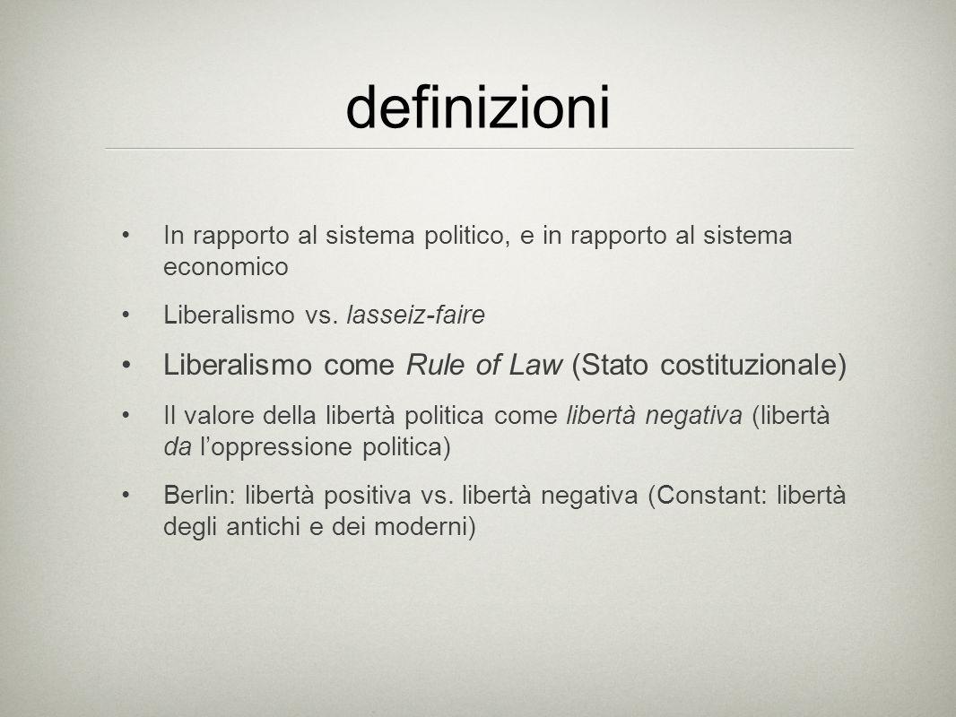 definizioni Liberalismo come Rule of Law (Stato costituzionale)