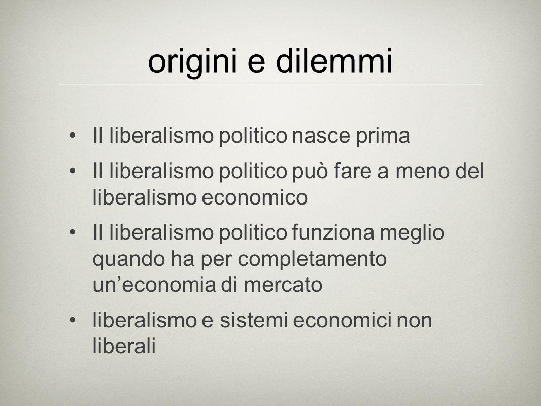 origini e dilemmi Il liberalismo politico nasce prima