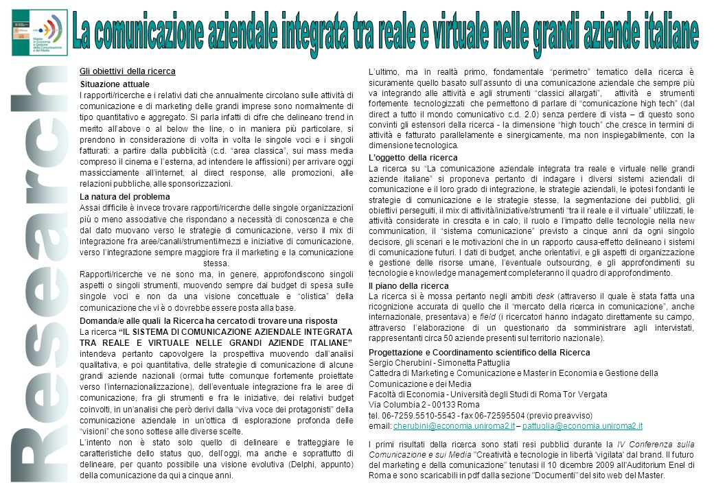 La comunicazione aziendale integrata tra reale e virtuale nelle grandi aziende italiane