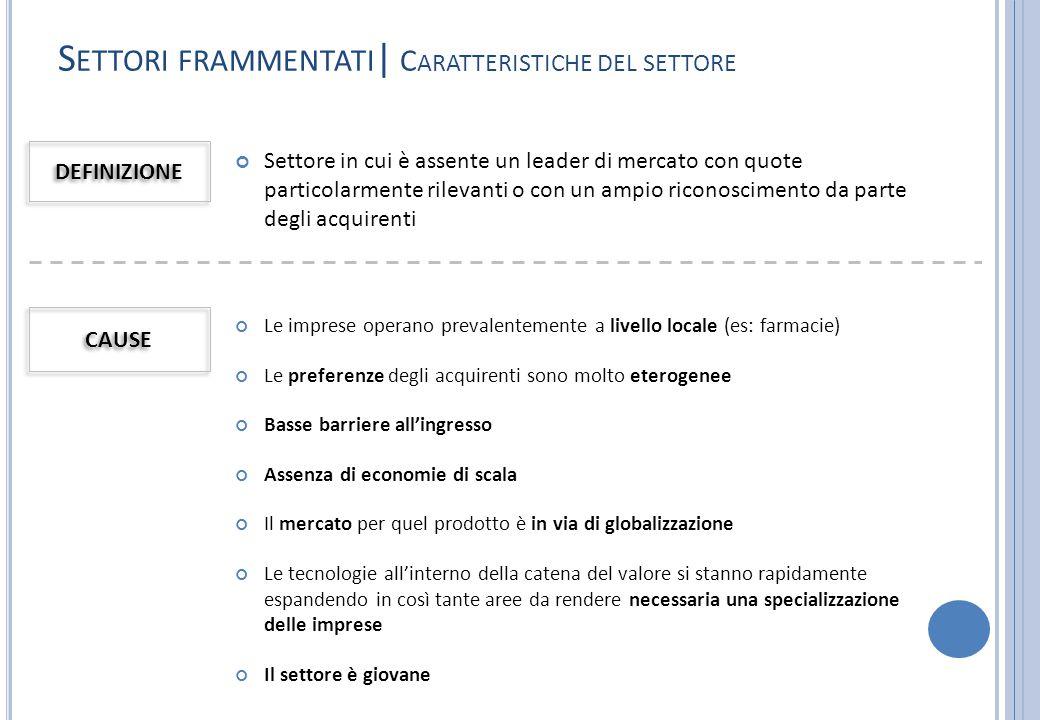 Settori frammentati| Caratteristiche del settore
