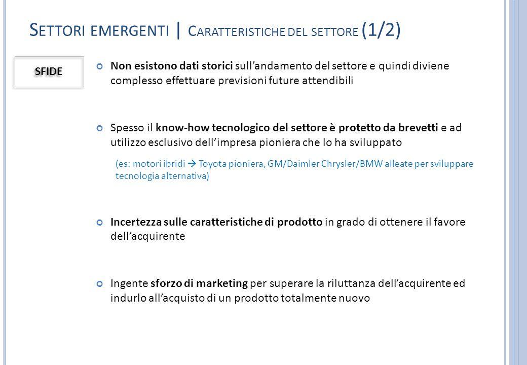 Settori emergenti | Caratteristiche del settore (1/2)
