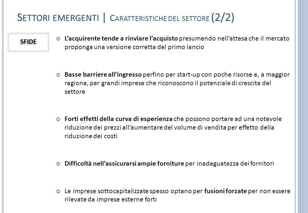 Settori emergenti | Caratteristiche del settore (2/2)