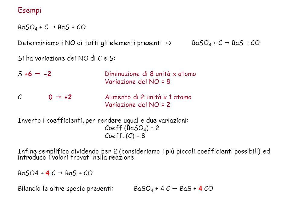 Esempi BaSO4 + C  BaS + CO. Determiniamo i NO di tutti gli elementi presenti  BaSO4 + C  BaS + CO.