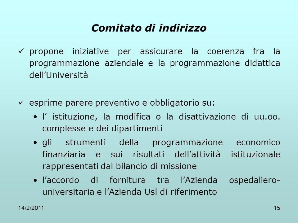 Comitato di indirizzo propone iniziative per assicurare la coerenza fra la programmazione aziendale e la programmazione didattica dell'Università.