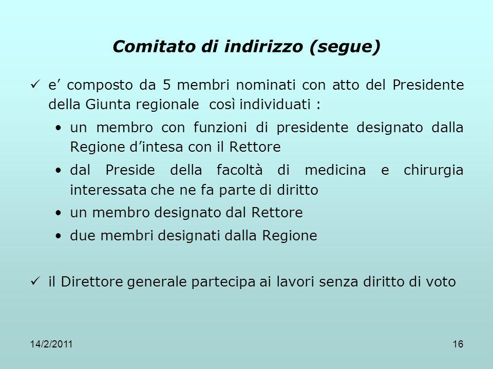 Comitato di indirizzo (segue)