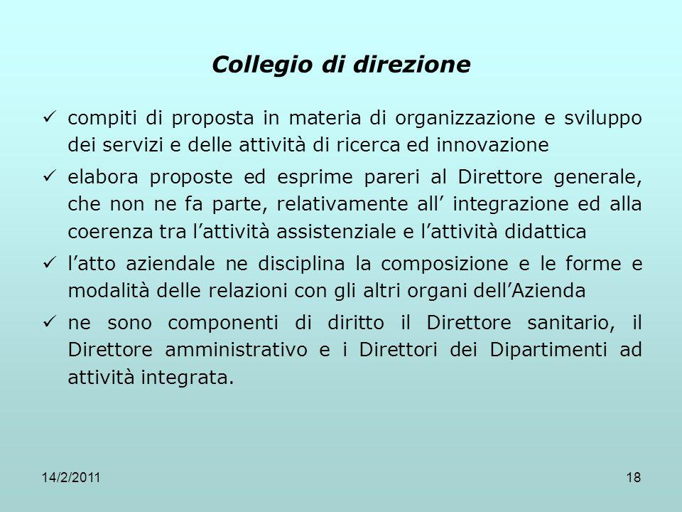 Collegio di direzione compiti di proposta in materia di organizzazione e sviluppo dei servizi e delle attività di ricerca ed innovazione.