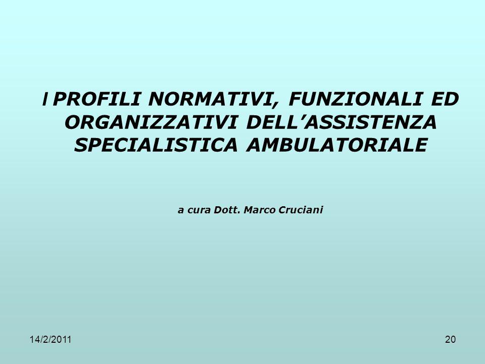 I PROFILI NORMATIVI, FUNZIONALI ED ORGANIZZATIVI DELL'ASSISTENZA SPECIALISTICA AMBULATORIALE a cura Dott. Marco Cruciani