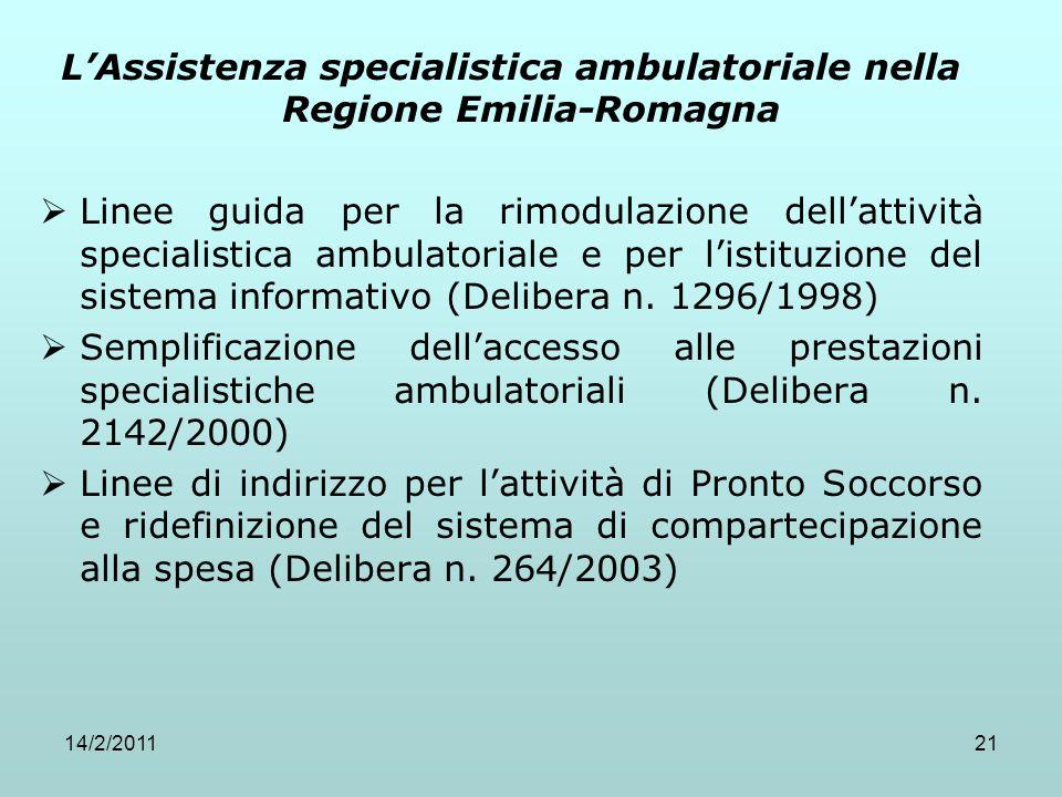 L'Assistenza specialistica ambulatoriale nella Regione Emilia-Romagna