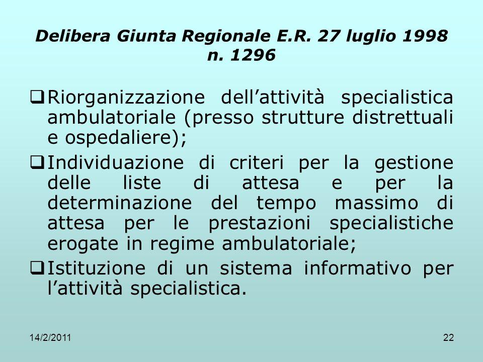 Delibera Giunta Regionale E.R. 27 luglio 1998 n. 1296