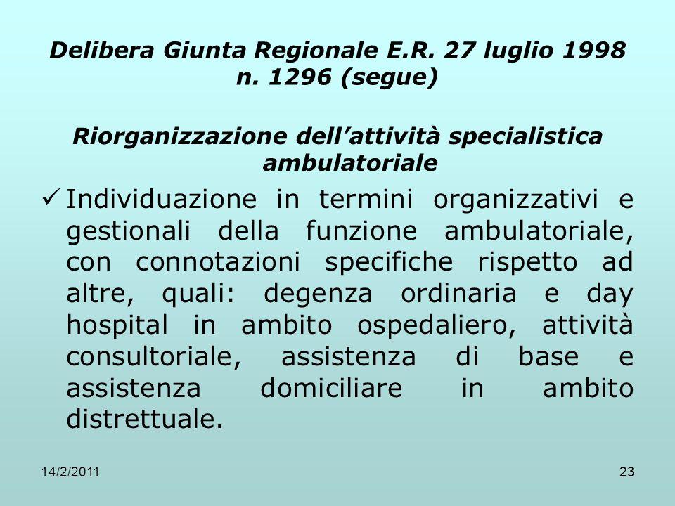 Delibera Giunta Regionale E.R. 27 luglio 1998 n. 1296 (segue)