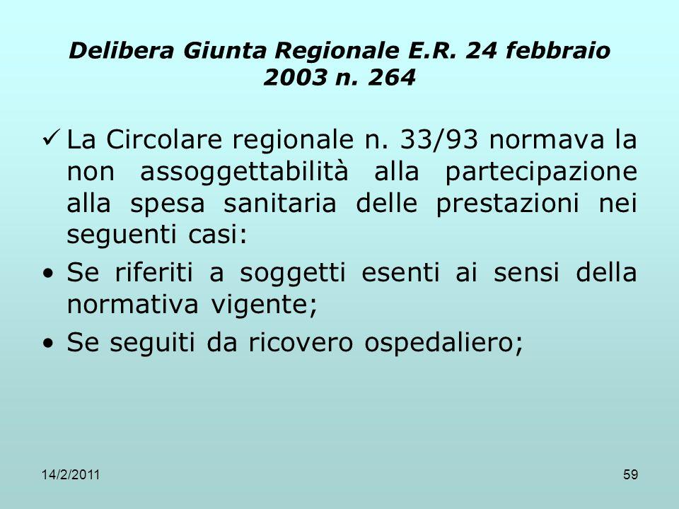 Delibera Giunta Regionale E.R. 24 febbraio 2003 n. 264