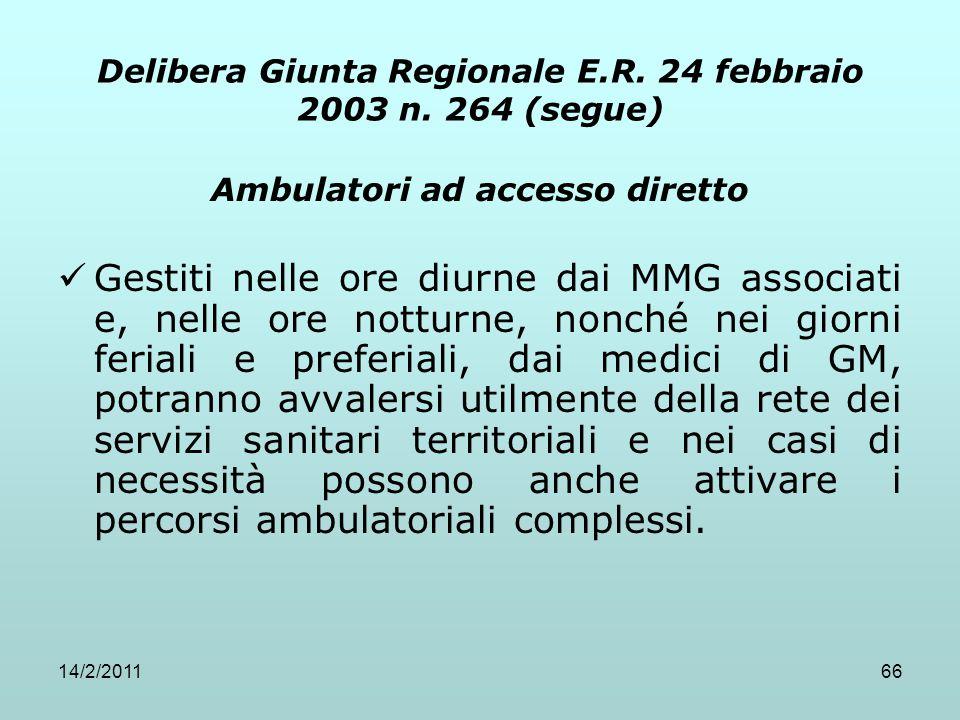 Delibera Giunta Regionale E.R. 24 febbraio 2003 n. 264 (segue)