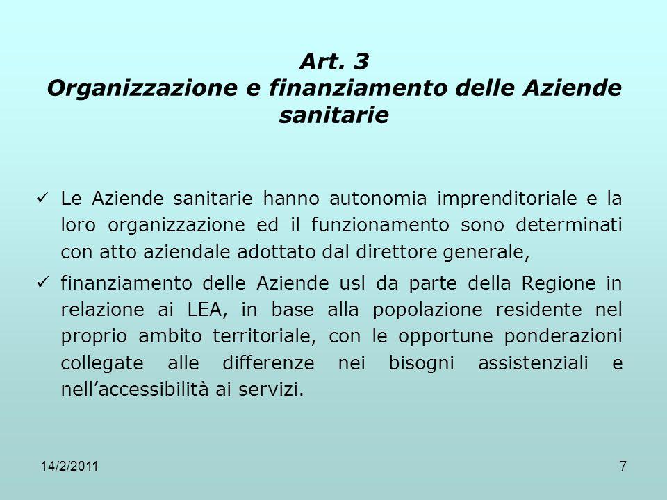 Art. 3 Organizzazione e finanziamento delle Aziende sanitarie