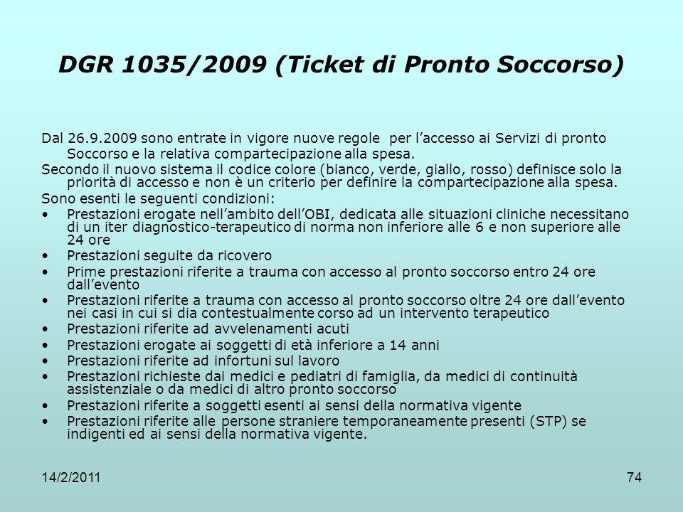 DGR 1035/2009 (Ticket di Pronto Soccorso)