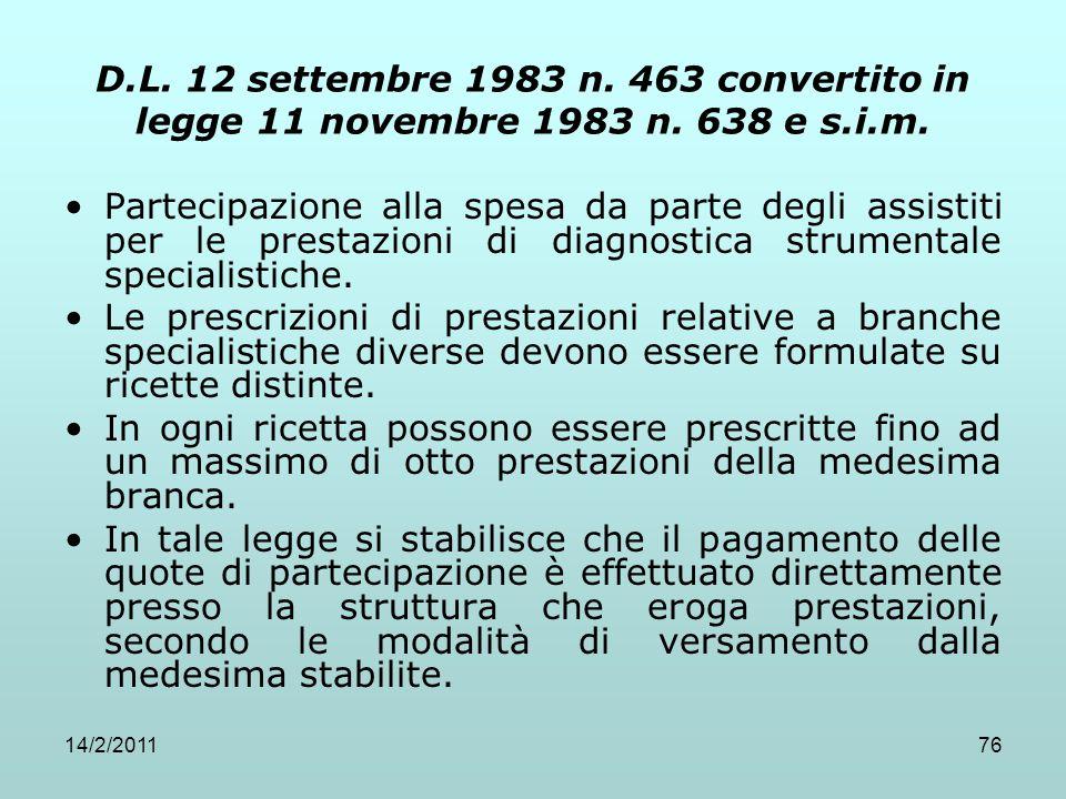 D. L. 12 settembre 1983 n. 463 convertito in legge 11 novembre 1983 n