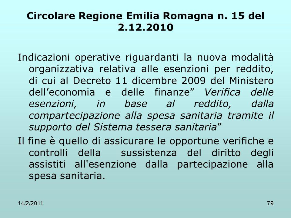 Circolare Regione Emilia Romagna n. 15 del 2.12.2010