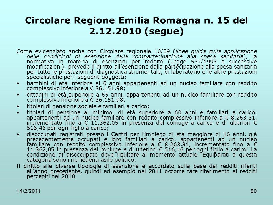 Circolare Regione Emilia Romagna n. 15 del 2.12.2010 (segue)