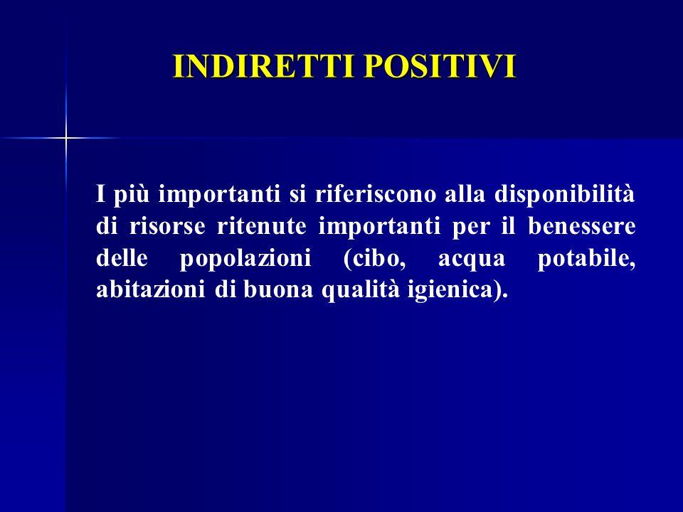 INDIRETTI POSITIVI (socio - economici)