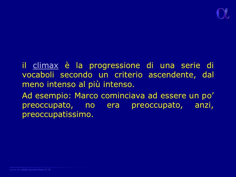 il climax è la progressione di una serie di vocaboli secondo un criterio ascendente, dal meno intenso al più intenso.