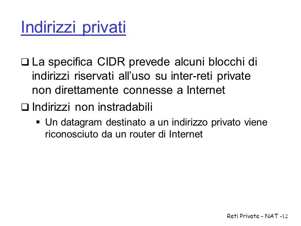 Indirizzi privati La specifica CIDR prevede alcuni blocchi di indirizzi riservati all'uso su inter-reti private non direttamente connesse a Internet.