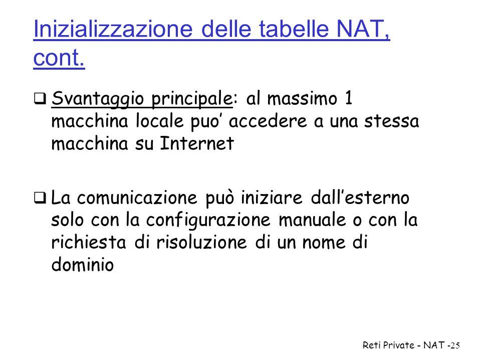 Inizializzazione delle tabelle NAT, cont.