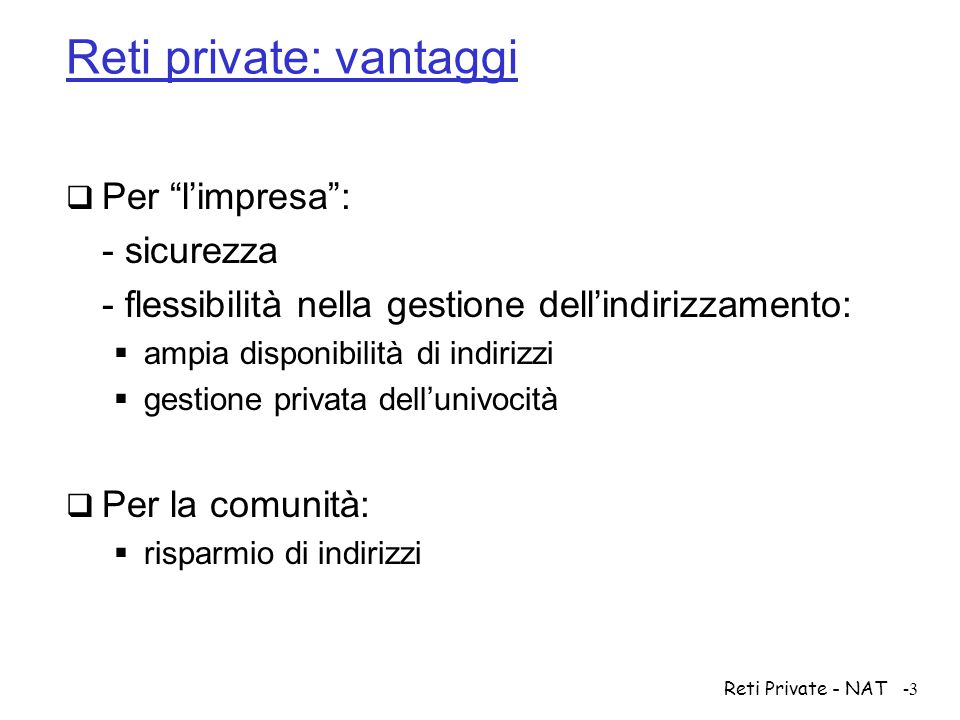 Reti private: vantaggi