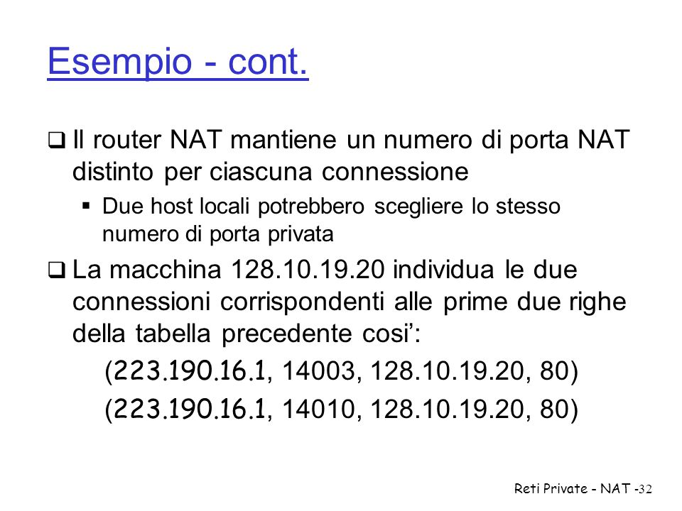 Esempio - cont. Il router NAT mantiene un numero di porta NAT distinto per ciascuna connessione.