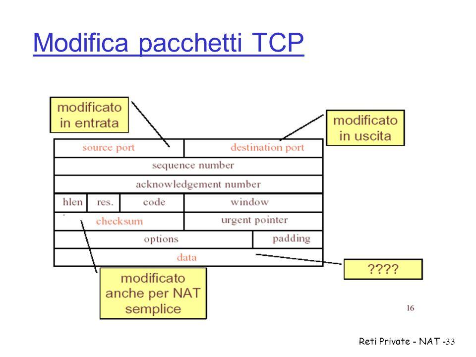 Modifica pacchetti TCP