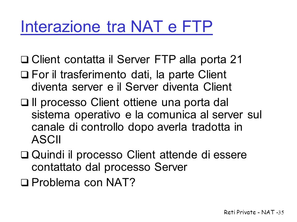 Interazione tra NAT e FTP
