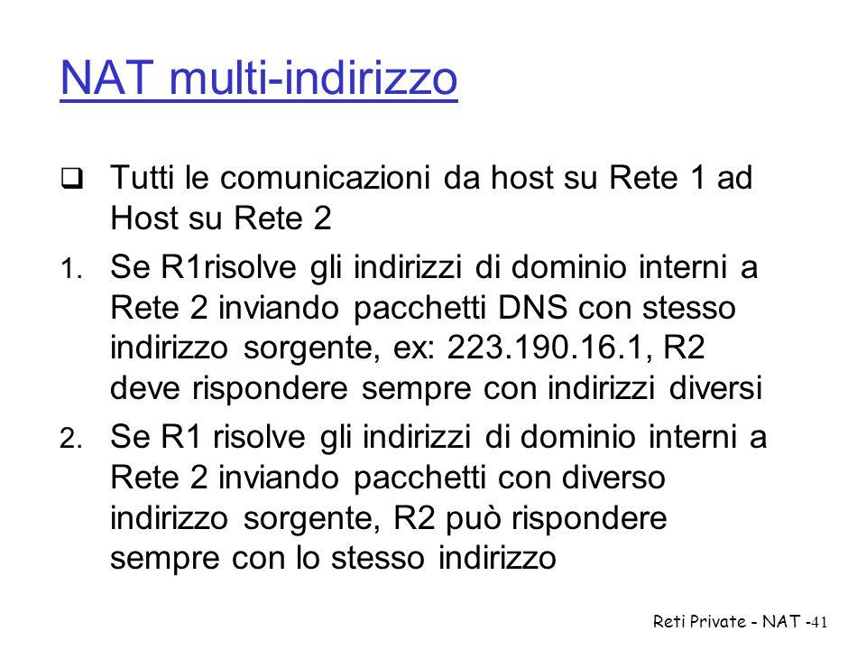 NAT multi-indirizzo Tutti le comunicazioni da host su Rete 1 ad Host su Rete 2.