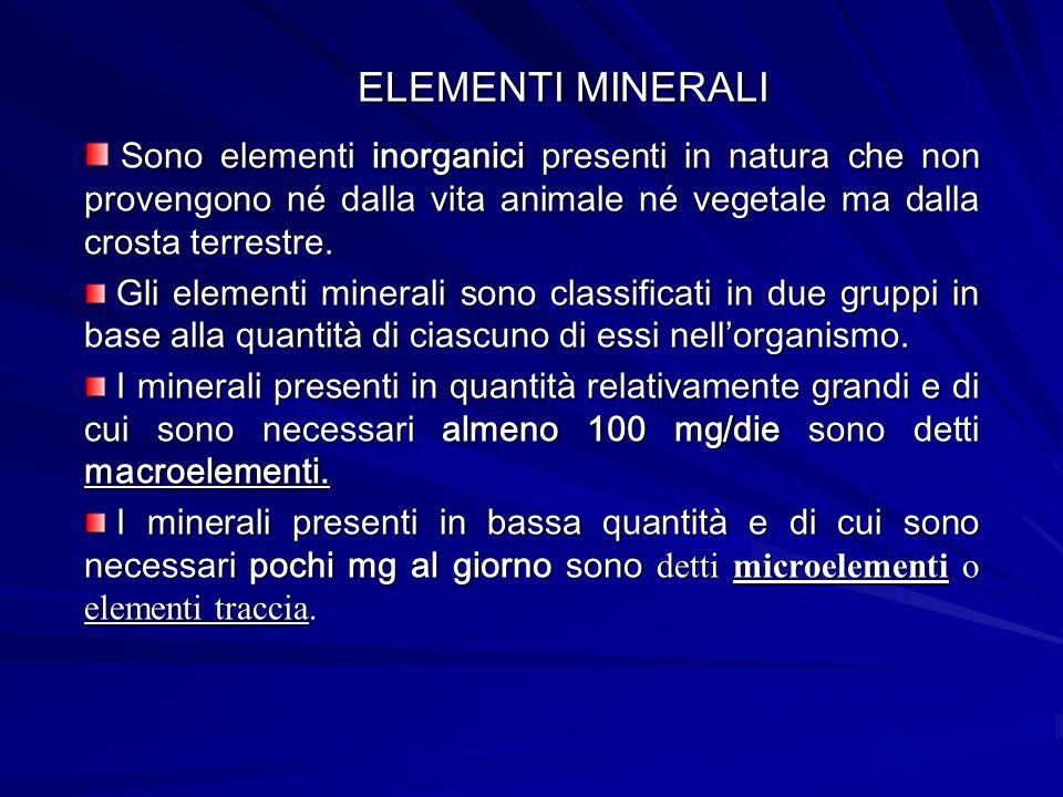ELEMENTI MINERALI Sono elementi inorganici presenti in natura che non provengono né dalla vita animale né vegetale ma dalla crosta terrestre.