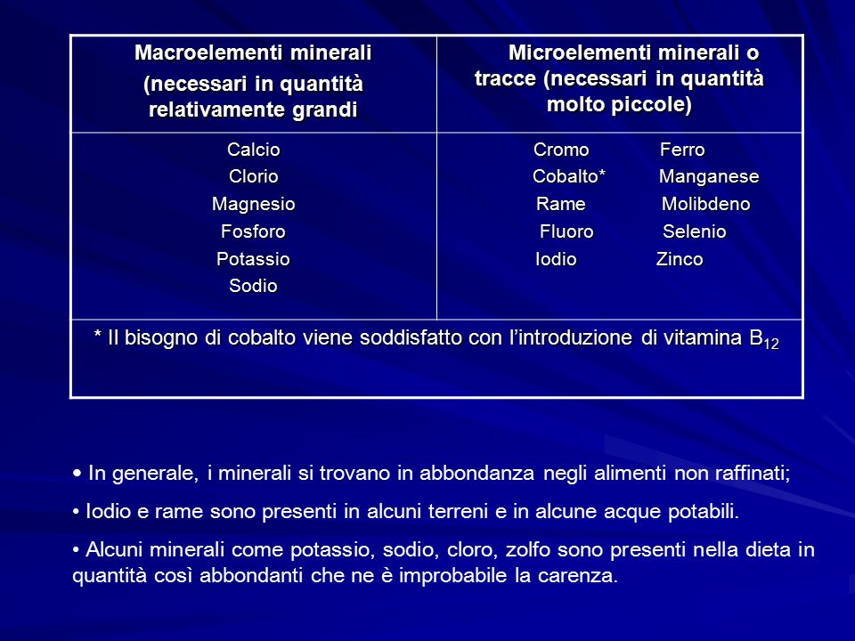 Macroelementi minerali (necessari in quantità relativamente grandi