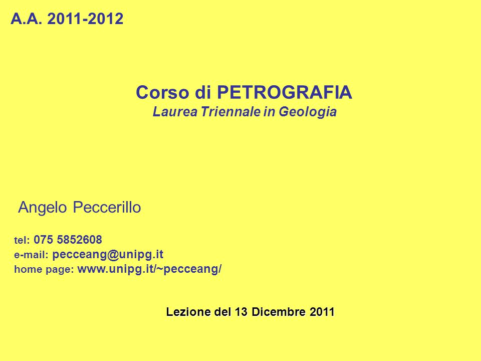 Laurea Triennale in Geologia