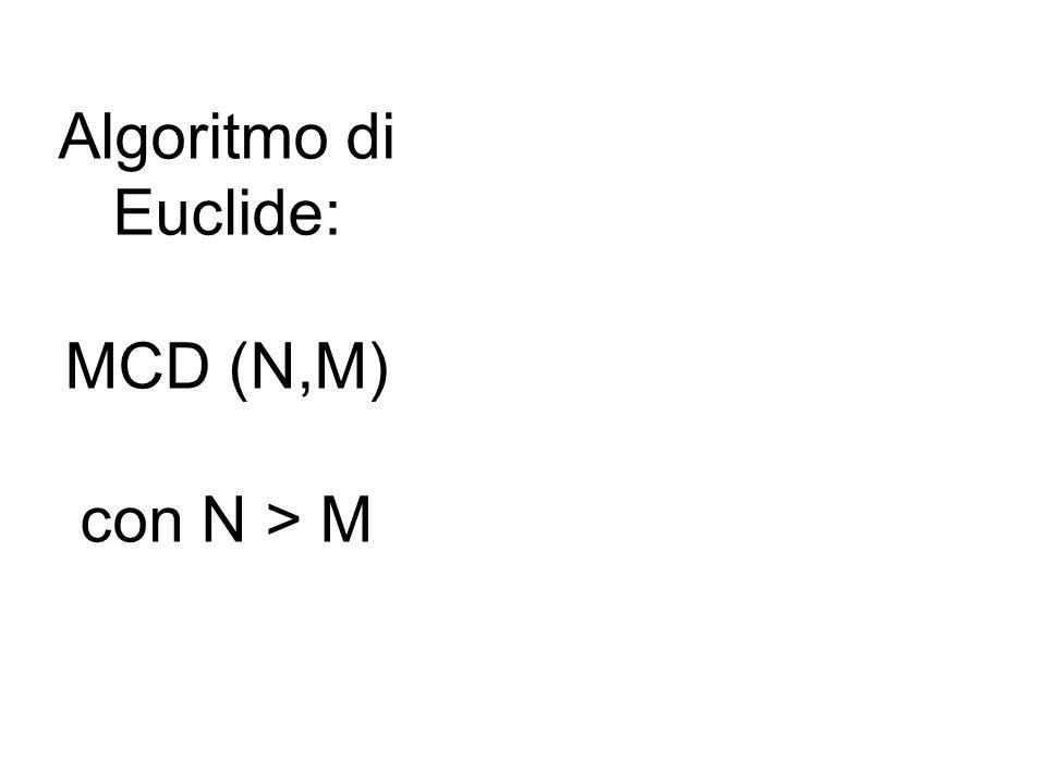 Algoritmo di Euclide: MCD (N,M) con N > M