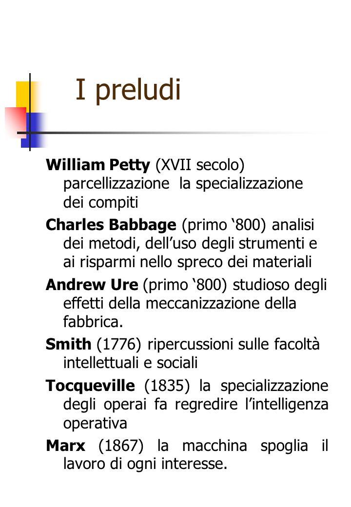 I preludi William Petty (XVII secolo) parcellizzazione la specializzazione dei compiti.
