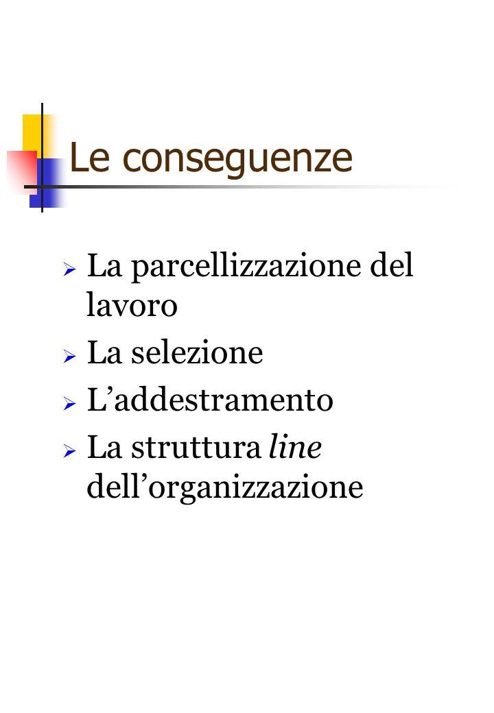Le conseguenze La parcellizzazione del lavoro La selezione