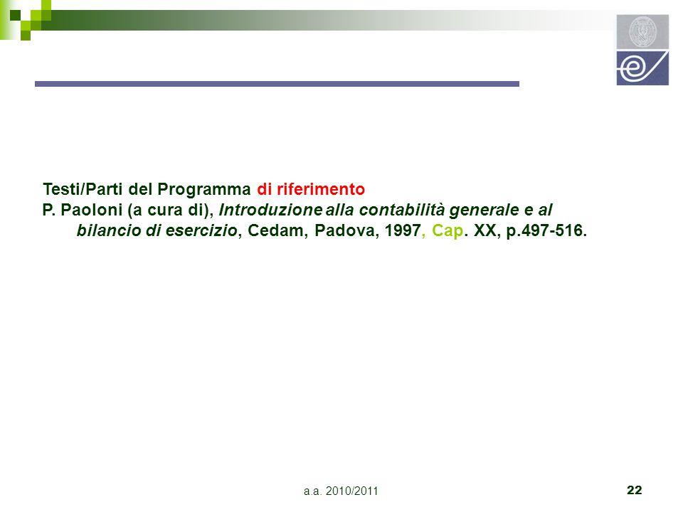 Testi/Parti del Programma di riferimento