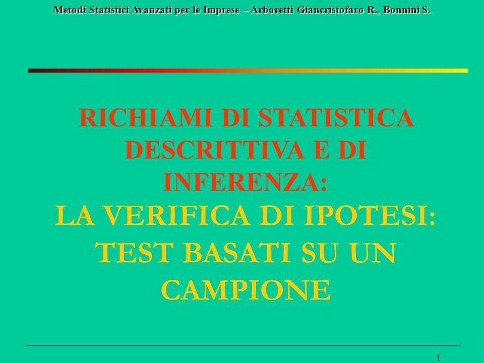 LA VERIFICA DI IPOTESI: TEST BASATI SU UN CAMPIONE